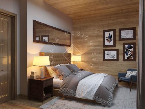 Дизайн проект интерьера загородного дома в стиле Шале - 21