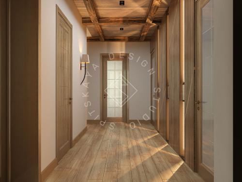 Дизайн проект интерьера загородного дома в стиле Шале - 25