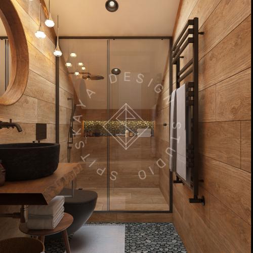 Дизайн проект интерьера загородного дома в стиле Шале - 39