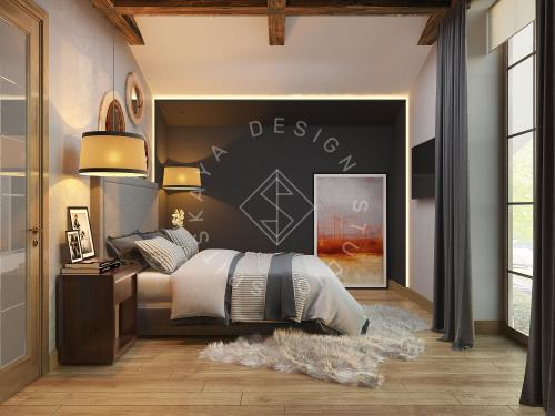 Дизайн проект интерьера загородного дома в стиле Шале - 31