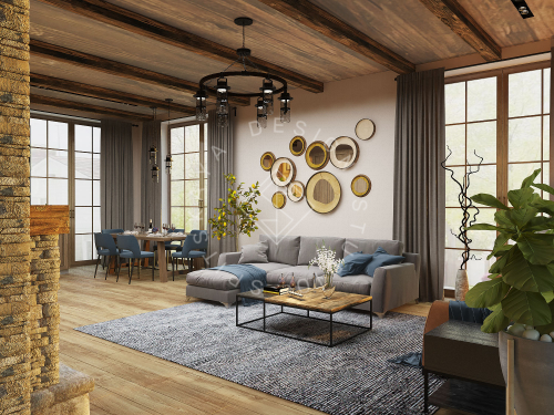 Дизайн проект интерьера загородного дома в стиле Шале - 7