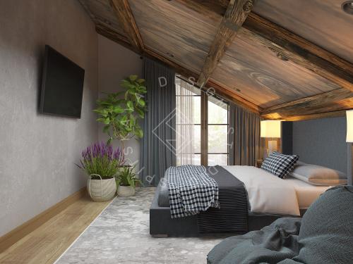 Дизайн проект интерьера загородного дома в стиле Шале - 34