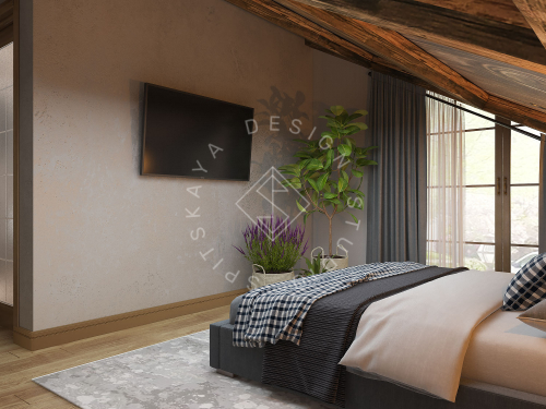 Дизайн проект интерьера загородного дома в стиле Шале - 35