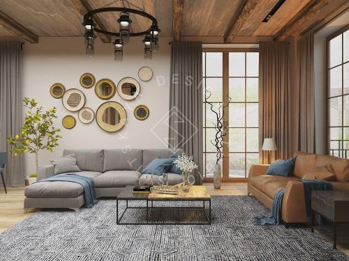 Дизайн проект интерьера загородного дома в стиле Шале - 9