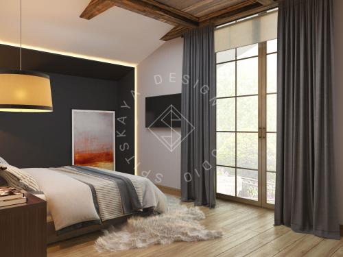 Дизайн проект интерьера загородного дома в стиле Шале - 29