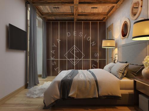 Дизайн проект интерьера загородного дома в стиле Шале - 30