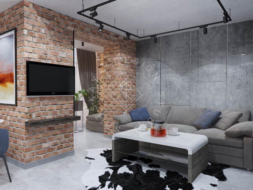 """Дизайн интерьера квартиры в стиле """"LOFT"""" ЖК """"RIVER PARK"""""""