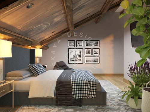 Дизайн проект интерьера загородного дома в стиле Шале - 33