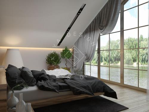 Дизайн проект интерьера загородного дома в стиле Шале - 42