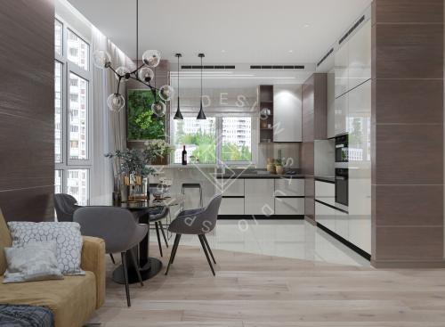 Дизайн трехкомнатной квартиры новом доме - 3
