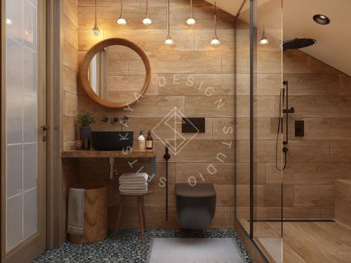 Дизайн проект интерьера загородного дома в стиле Шале - 40