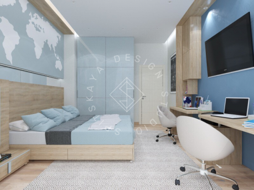 Дизайн трехкомнатной квартиры новом доме - 16