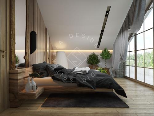 Дизайн проект интерьера загородного дома в стиле Шале - 44
