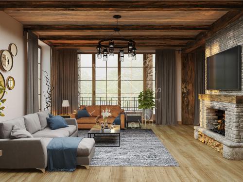 Дизайн проект интерьера загородного дома в стиле Шале - 6