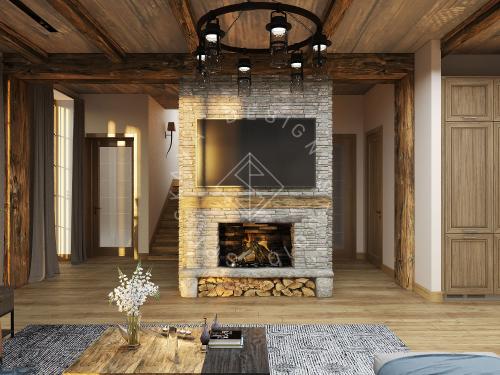 Дизайн проект интерьера загородного дома в стиле Шале - 5