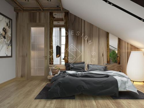 Дизайн проект интерьера загородного дома в стиле Шале - 41