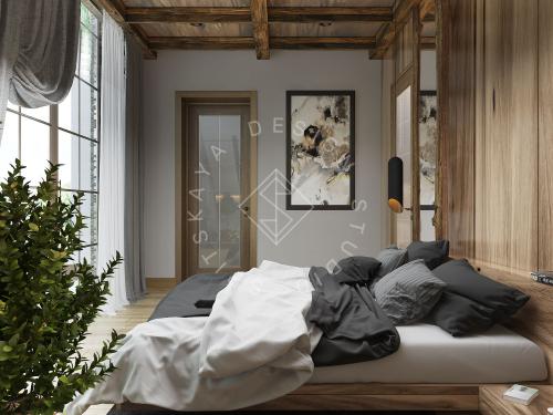 Дизайн проект интерьера загородного дома в стиле Шале - 43
