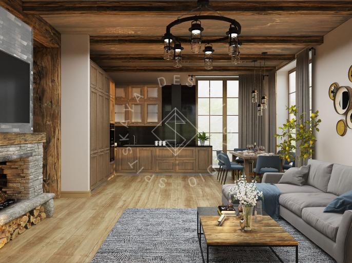Дизайн проект интерьера загородного дома в стиле Шале