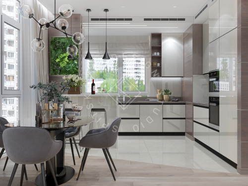 Дизайн трехкомнатной квартиры новом доме - 5