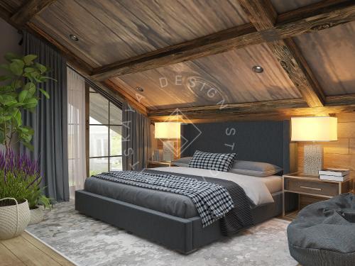 Дизайн проект интерьера загородного дома в стиле Шале - 37