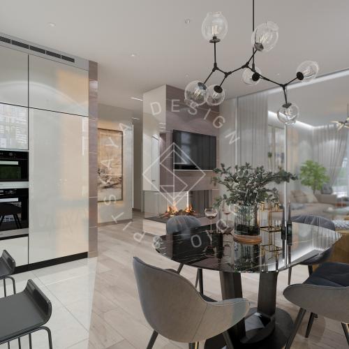 Дизайн трехкомнатной квартиры новом доме - 9