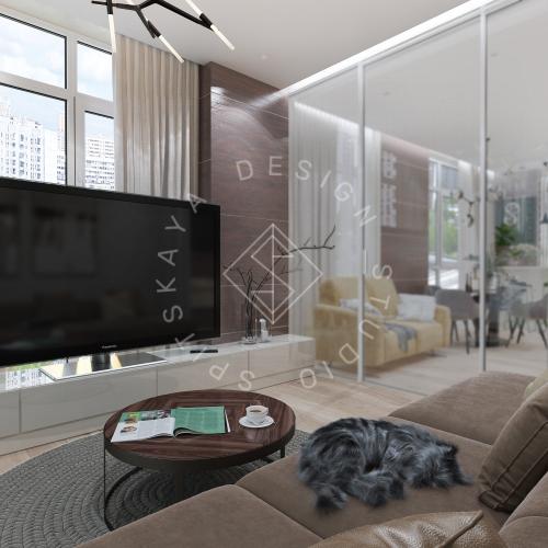 Дизайн трехкомнатной квартиры новом доме - 6
