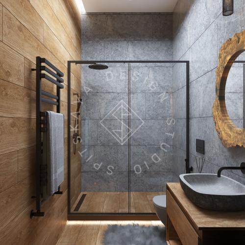 Дизайн проект интерьера загородного дома в стиле Шале - 16